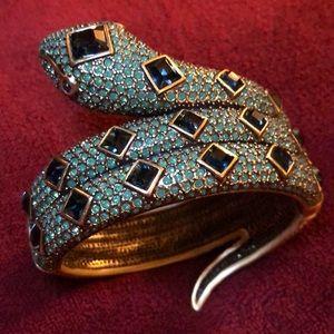 Heidi Daus Swarovski crystal snake cuff bracelet